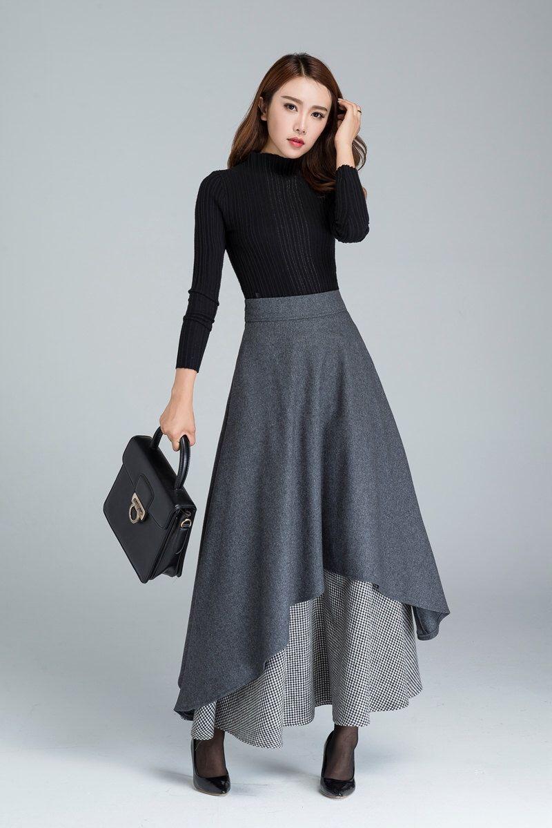 4a96243be7 dark grey skirt, long skirt, warm winter skirt, black and white skirt,