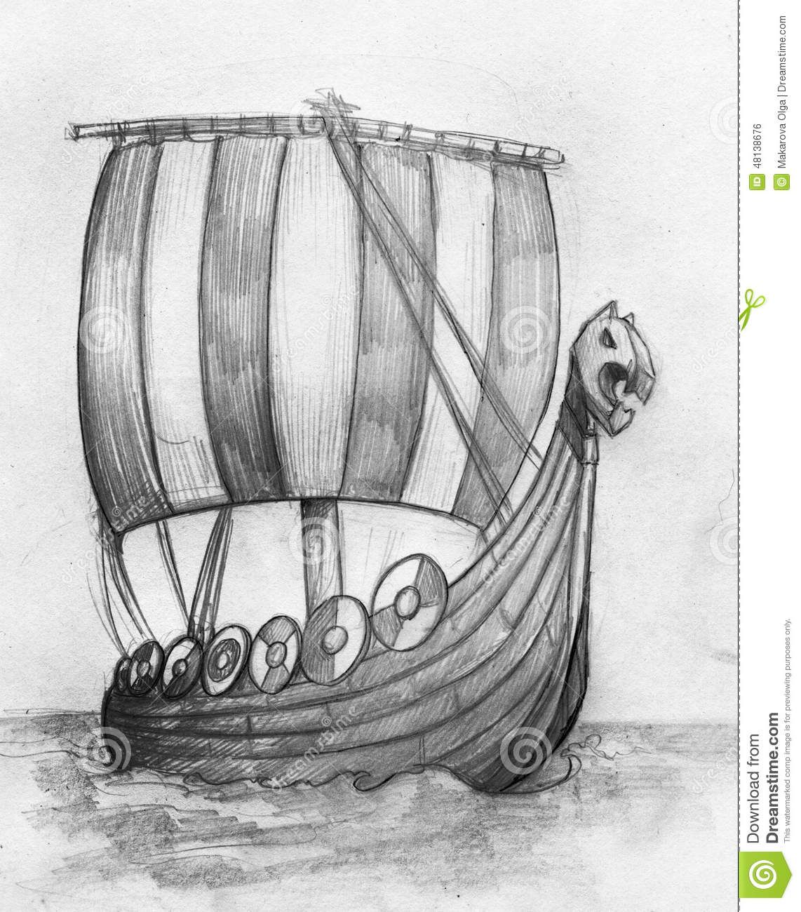 Viking Ship Drakkar Sketch Stock Illustration Image 48138676