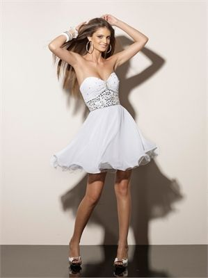 23aca28b684 Empire with beaded waistband Sweetheart Chiffon short prom dress PD10382