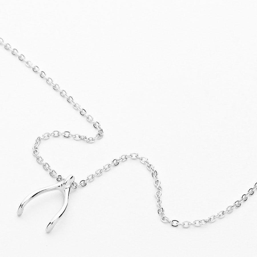 Silver Wishbone Pendant Necklace