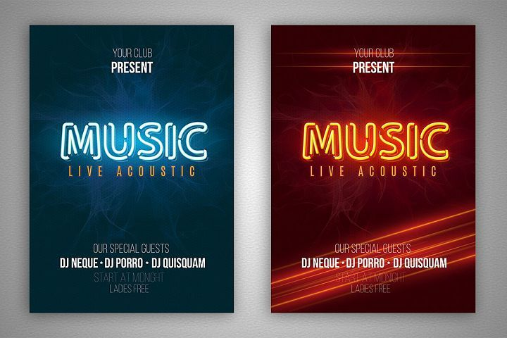 Set Of Neon Music Flyer With Neon Ai Style Make Your Own