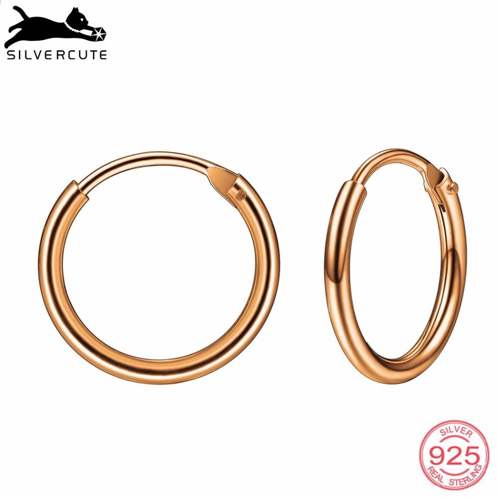 ee398ca57eb Silvercute Små Simple Hoop Øreringe For Kvinder 925 Sterling Sølv Fine  Smykker Rose Gold Colour Circle