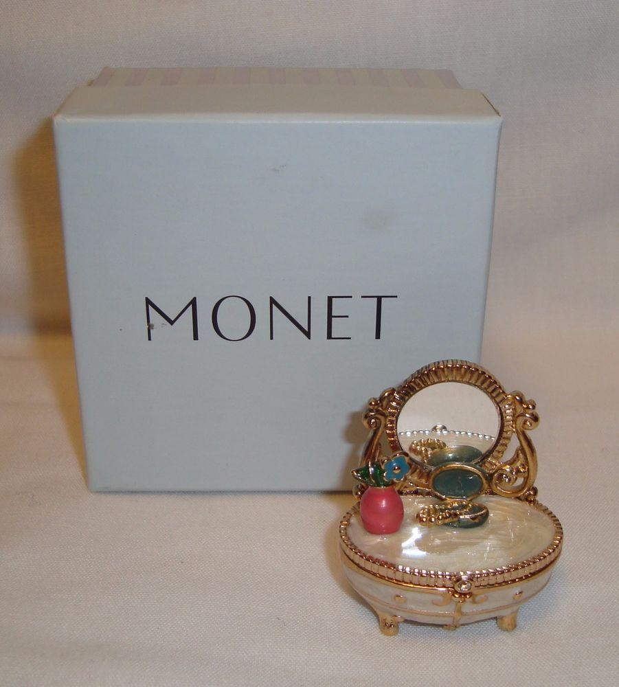 Monet TRINKET JEWELRY BOX VANITY DRESSER with MIRROR EXCELLENT