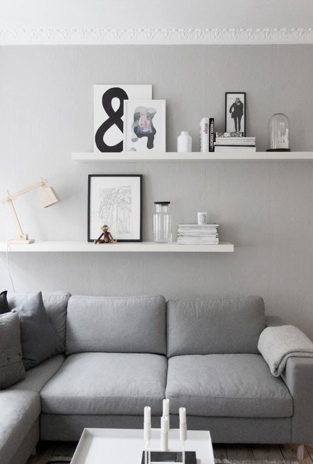 Living room details grey walls from createcph living for Shelves for living room decorations