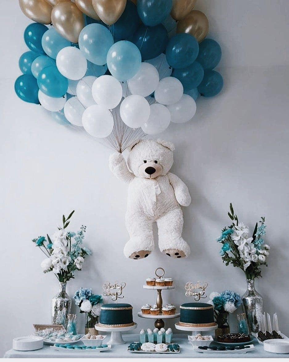 Pin by Ashley Kelly on ραятy✧ | Baby shower wall decor, Baby shower  balloons, Teddy bear baby shower decorations