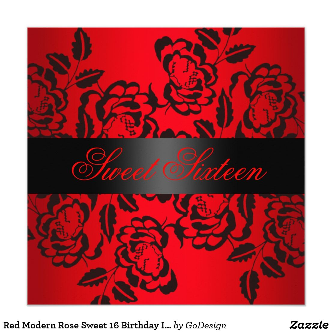 Red Modern Rose Sweet 16 Birthday Invite | { Happy Birthday ...