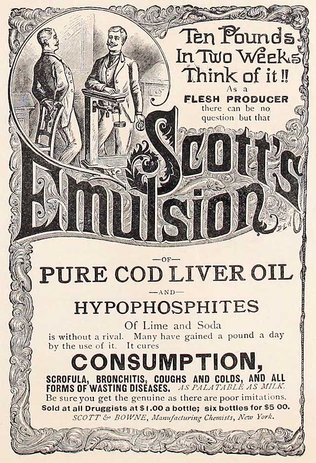 Scott & Bowne, Manufacturing Chemists / Scott's Emulsion advertisement from a 1890 trade publication.