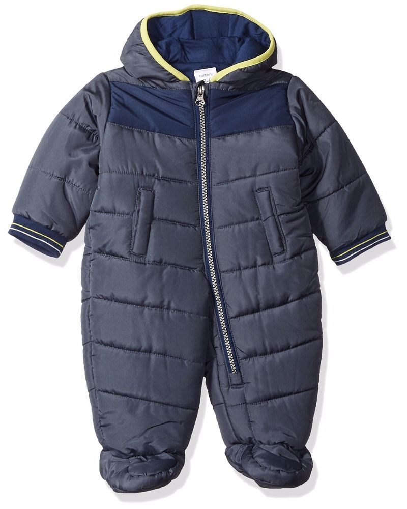 c7d9f98c0 NWT Carters Boys Quilted Water Resistant Blue Snowsuit Baby Bunting Pram 6-9mos  #fashion