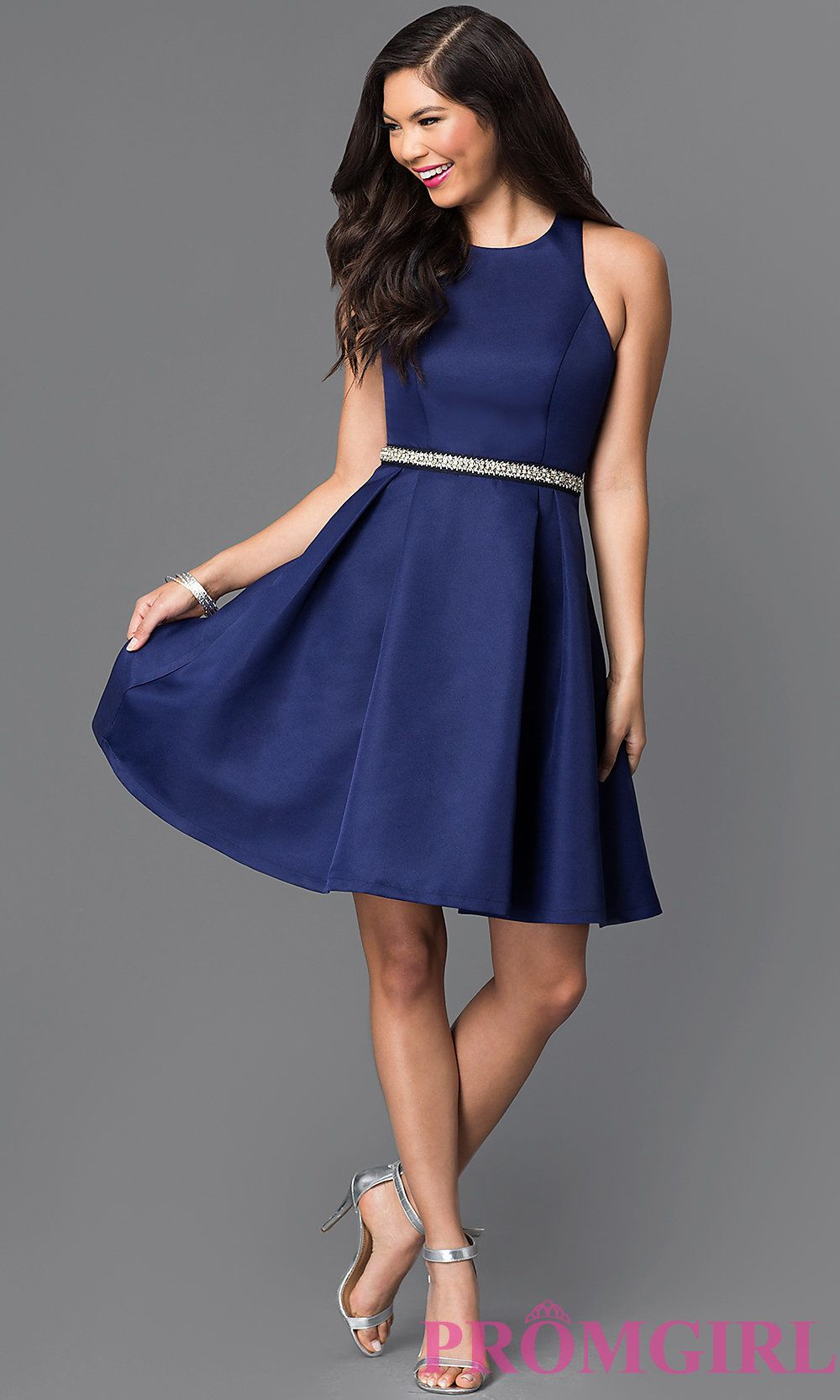 b6c8c1102 Image of short navy blue fit-and-flare homecoming dress. Style: MT-7758  Detail Image 1