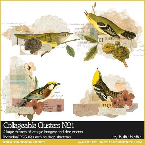 INSTANT DOWNLOAD Collageable Clusters No. 01 Vintage Birds