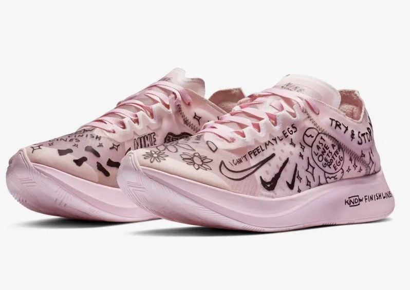 new product 7b2a2 b386b Nike Zoom Fly SP Fast Nathan Bell Blanc Mousse Rose Noir pour Femme.