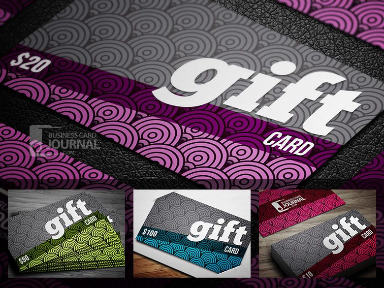 Creative \ Fancy Gift Card Template in 4 Color Variations gif - gift card templates free