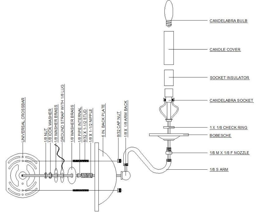 Wall Sconce Diagram - Grand Brass Lamp Parts, LLC. | Wall ... on Wall Sconce Parts id=38961