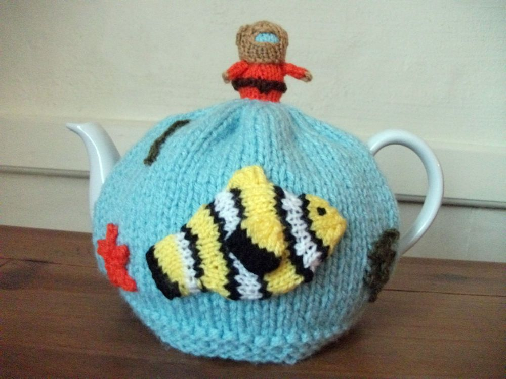 Hand Knitted Under The Sea Tea Cosy For A 2 Pint Teapot Knitting