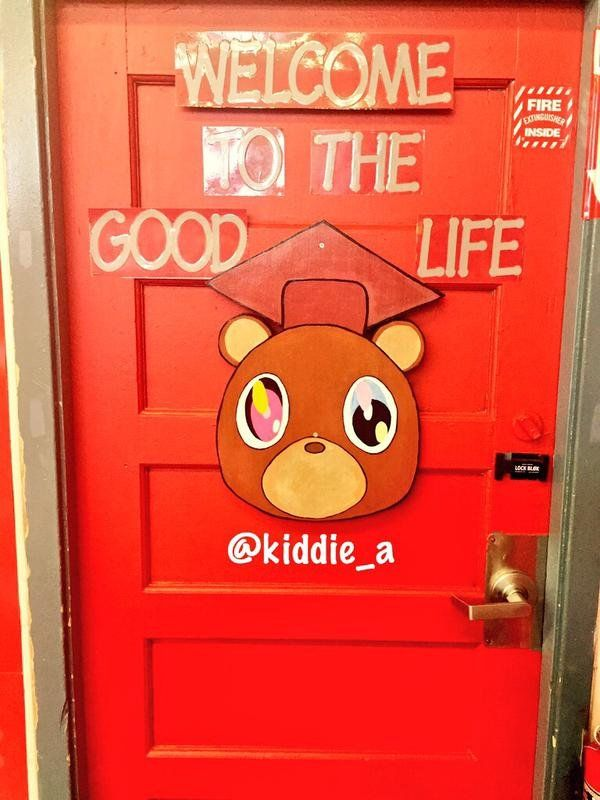 Teacher S Kanye West Themed Classroom Welcomes Students To The Good Life Kanye West Birthday Party Themes Good Life Kanye