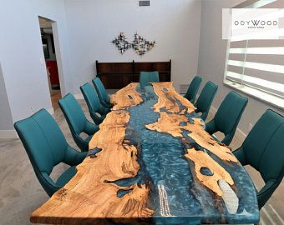 Table A Manger En Resine D Epoxy De Bois D Olive Etsy Furnituredesigns In 2020 Wood Table Design Wood Dining Table Diy Resin Table