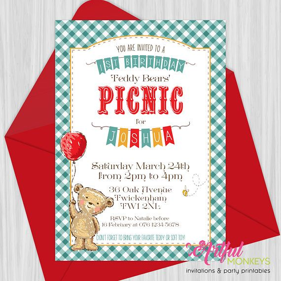 Printable Teddy Bears Picnic Invitation  Tobin Bday