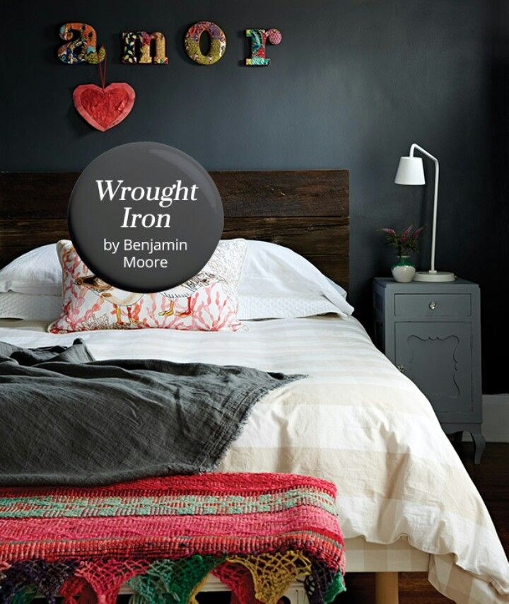 Wrought Iron Benjamin Moore Grey Bedroom With Pop Of Color Benjamin Moore Wrought Iron Benjamin Moore Paint Colors Gray