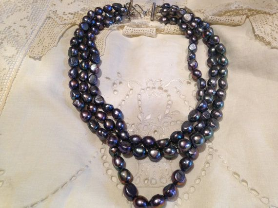 3 Strand Hand Knotted Peacock Grey Choker by NemesisNYC on Etsy