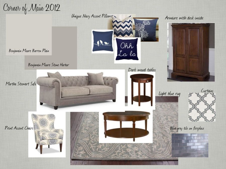 Greige Living Room dark blue and greige | greige and blue living room moodboard