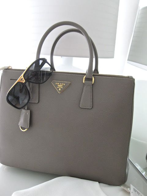 313a15045545 gray (argilla) | Saffiano Gardner structured tote bag | Saffiano leather |  gold accents | removable strap | simple, minimal | Prada