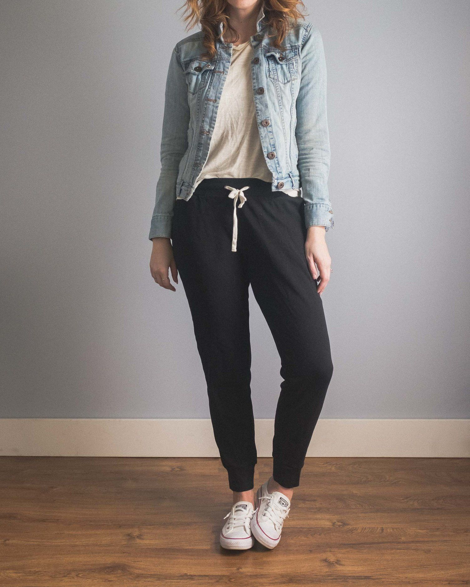 Cladwell Simplify Your Life With A Capsule Wardrobe Worn Jean Jacket Cute Sweatpants Outfit Jean Jacket Outfits [ 1875 x 1500 Pixel ]