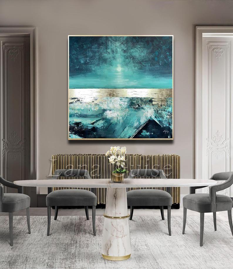 Weicher Tanz - abstrakte Malerei Platz 60 x 60, große Malerei, Petrol blau Gold Türkis Original-Gemälde, moderne Kunst, Blattgold