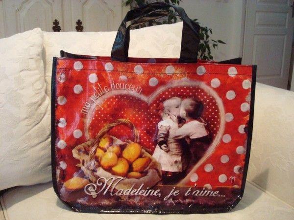 """Sac cabas """"Madeleine je t'aime"""" Orval Créations, décoration vintage rétro"""