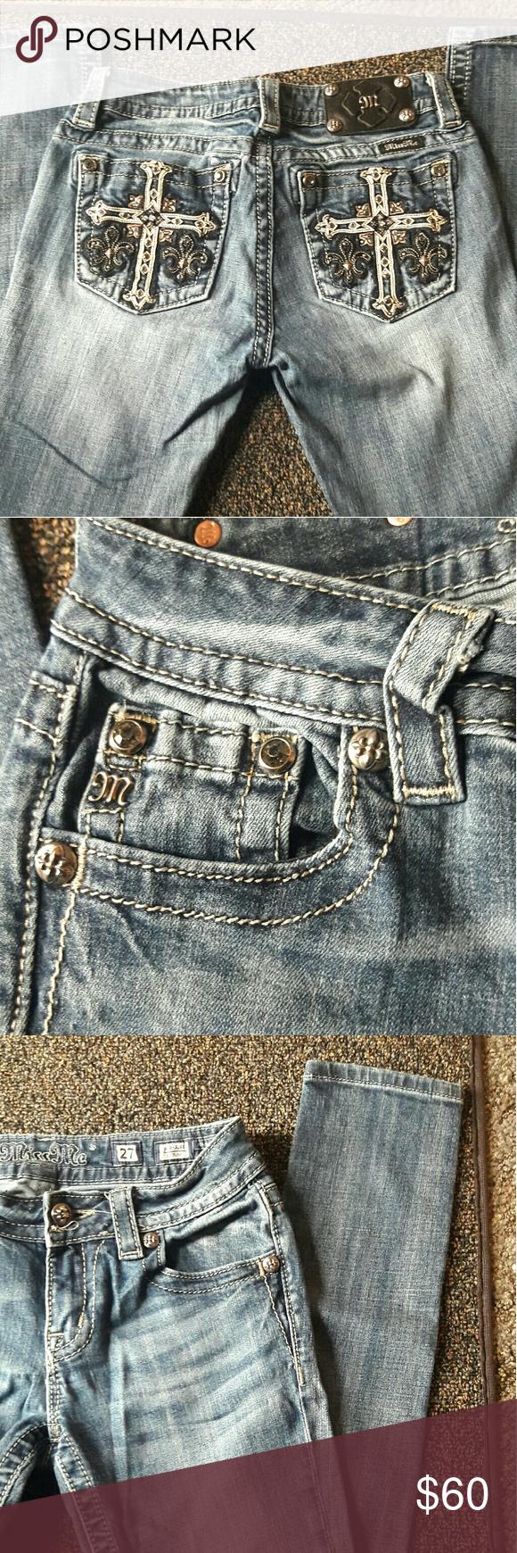 Miss Me designer jeans ! Popular Miss Me designer jeans, size 27 (size 8) Skinny, mid rise. Well taken care of, Make an offer! Miss Me Jeans Skinny