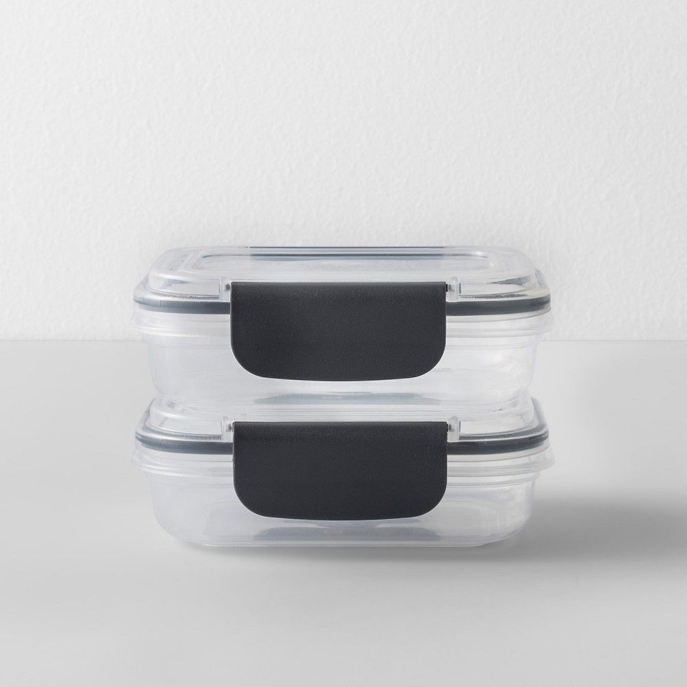 Rectangular Plastic Food Storage Container 1 Cup 2pk Made By Design Gray Clear Food Storage Food Storage Containers