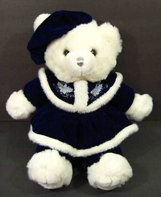 "21"" White & Blue CHRISTMAS TEDDY BEAR Plush TB Trading 2000 Shlf"