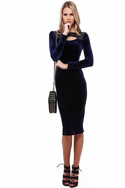 Our Luxe Velvet Faux Leather Midi Dress is the dress that every fashionable woman should be caught wearing this season. It is out of this world sexy and stylish and is a must have in your women's fashion wardrobe.