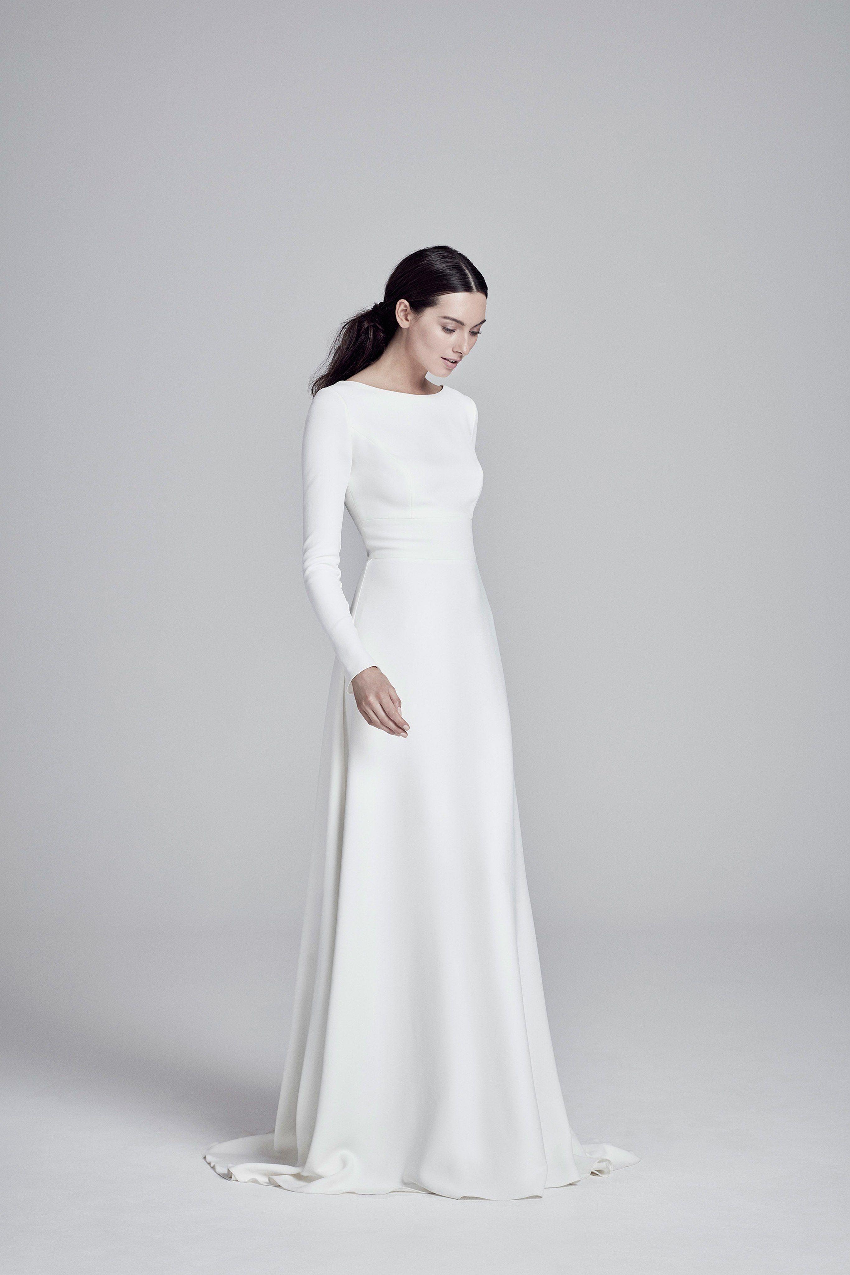 Suzanne Neville Bridal Spring 2020 Fashion Show Wedding Dress Long Sleeve Suzanne Neville Wedding Dresses Minimalist Wedding Dresses [ 4098 x 2732 Pixel ]