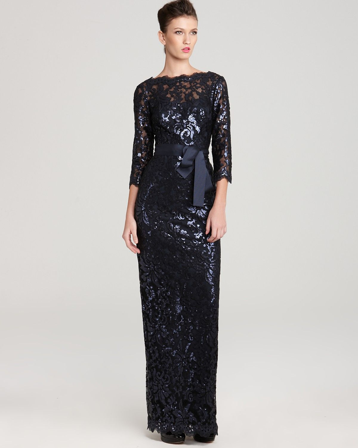 ae34a66bec7 Tadashi Shoji Gown - Long Sleeve Sequin Lace