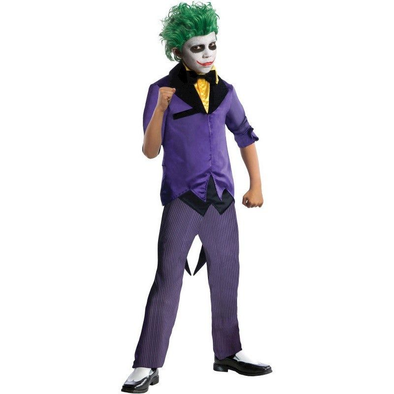 The Joker Child Batman Costume The Joker Child Batman CostumeYou'll be laughing all the way down the road next Halloween as the evil prankster Joker!Item Includes: Jacket With Attached Shirt Vest & Bow Tie PantsOfficially Licensed Batman productPlease Note:Our products come with the items listed in the above product description. For accessories shown in the photo, please check our store for availability, as we stock a massive range of accessories to complete your look.