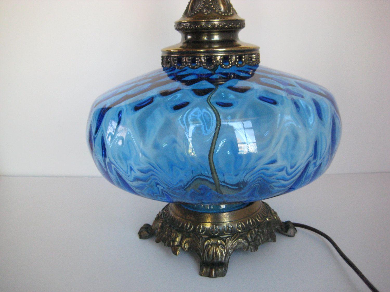 Vintage Blue Glass Lamp Vintage Blue Glass Table Lamp Large Glass Lamp Hollywood Regency Glass Table Lamp Blue Glass Lamp Vintage Table Lamp