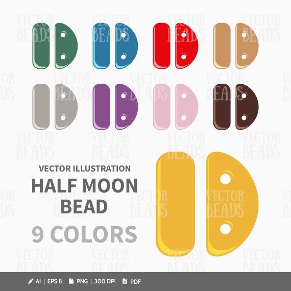 Half Moon Bead Clipart Pack - ai, eps, pdf, png by VectorBeads on Etsy