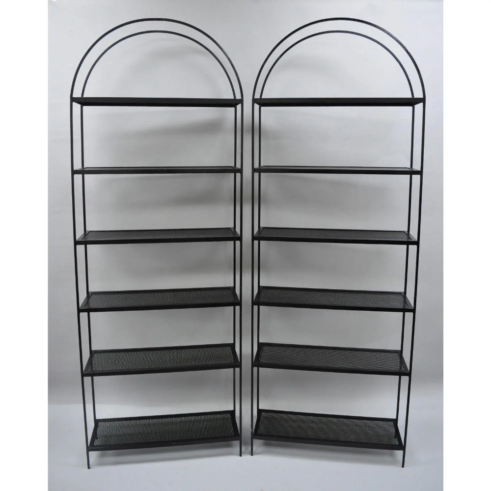 Vintage Arched Iron Mid Century Modern Etageres - A Pair | Chairish