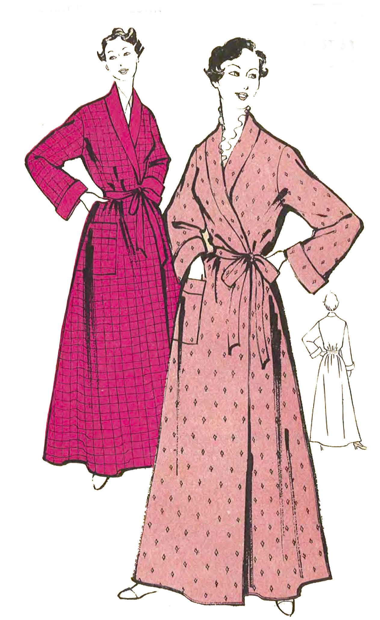 1950 S Vintage Sewing Pattern Women S Dressing Gown Etsy Dressing Gown Pattern Coat Pattern Sewing Womens Sewing Patterns