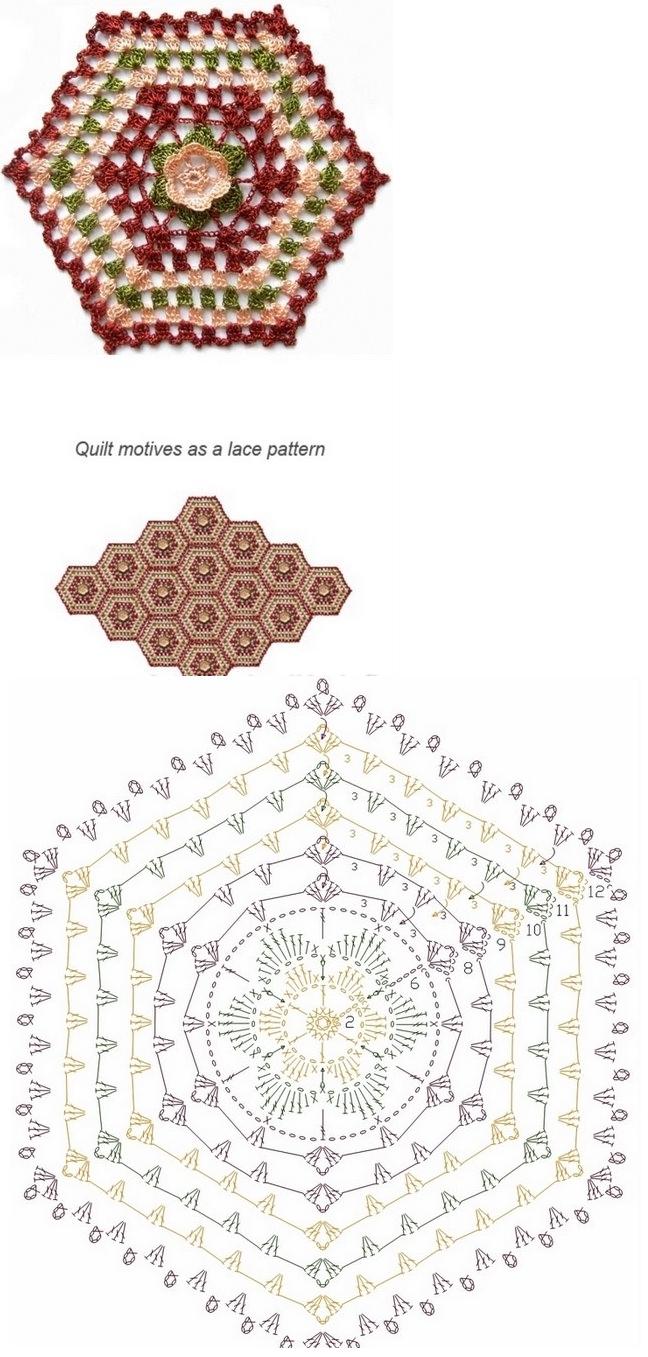 Incrível Crochê Hexágono - Isto faria um Lindo Afegão ...  /  Amazing Crochet Hexagon - This would make a Gorgeous Afghan...