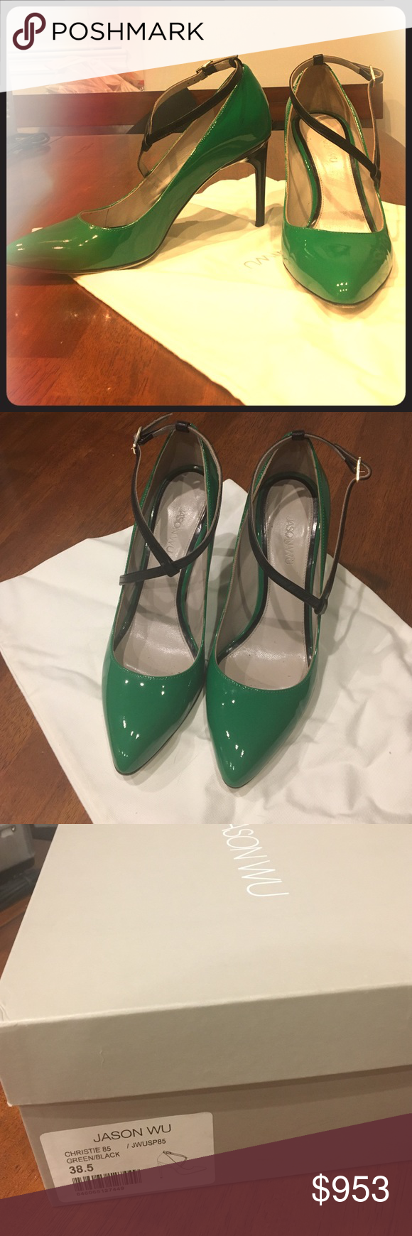 Jason Wu Patent Leather Heels Green and black patent leather heels with unique strap in front. I received so many compliments every time I wore these! These shoes run small. I am a size 8 in US shoe sizes and these fit me well. In excellent condition! Jason Wu Shoes Heels
