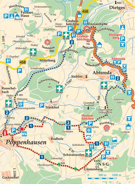 Rhon Rundweg 1 Poppenhausen Karte Frankreich Karte Wasserkuppe Graben