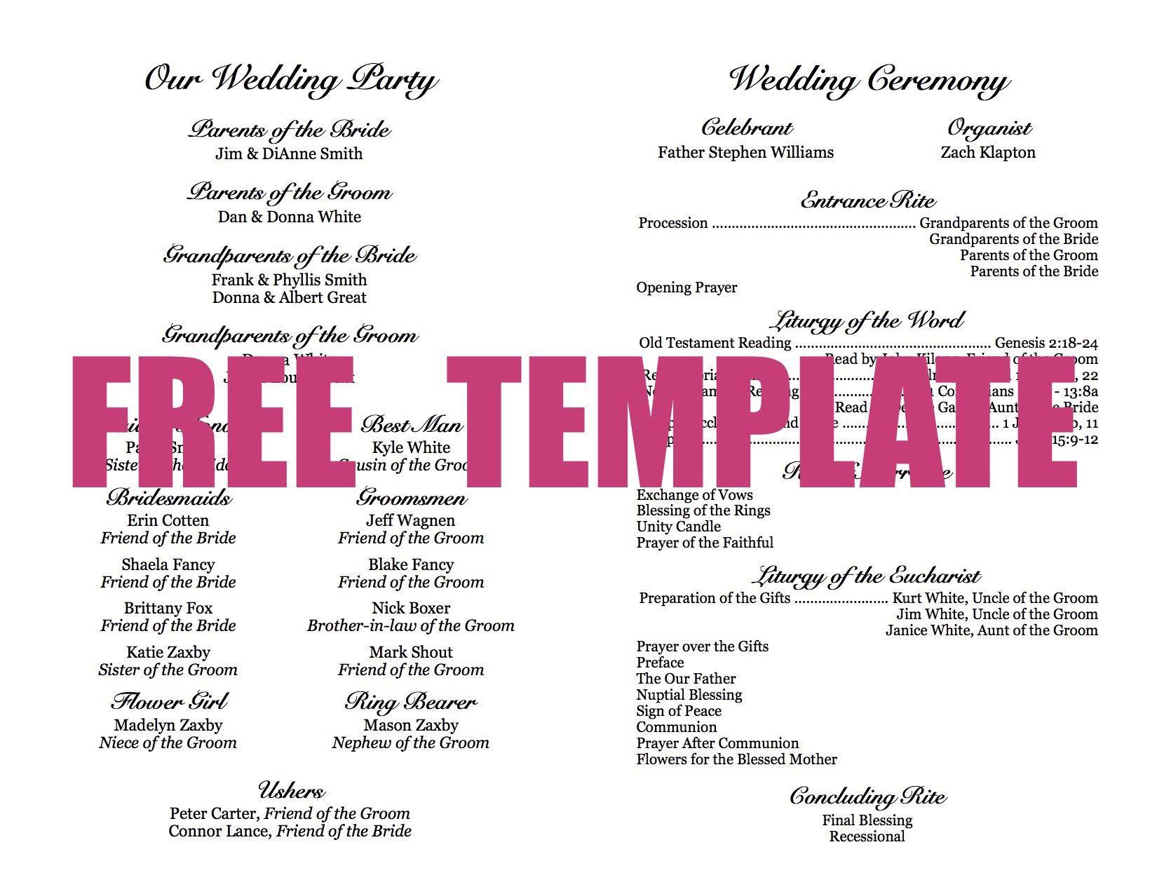 FREE Wedding Program Template Diy wedding programs