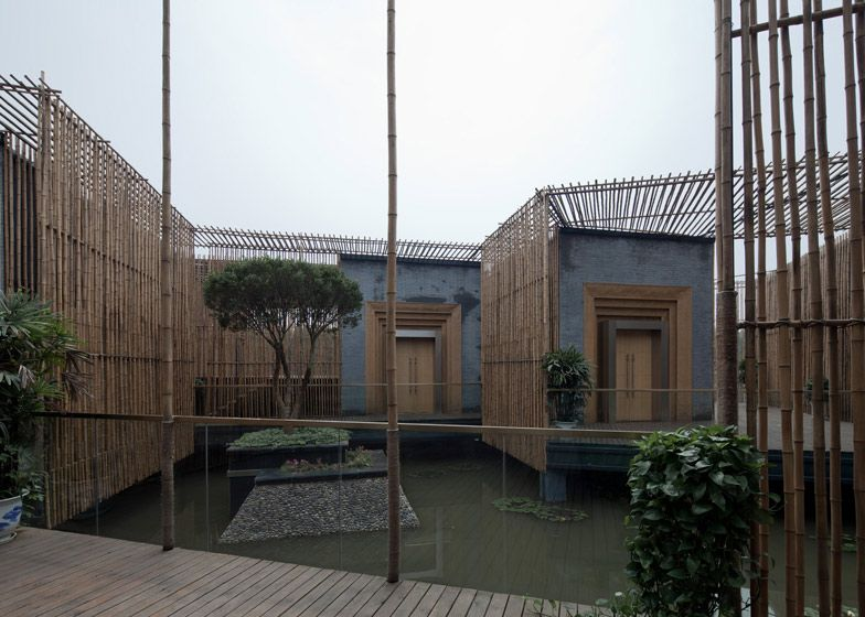 Bamboo Courtyard Teahouse  by HWCD Associates  inShare18  8 September 2012 | 2 comments  More:        Architecture      Slideshows    More bamboo: this floating tea house in Yangzhou, by Chinese architects HWCD Associates, features brick rooms linked by louvred bamboo corridors and brises soleil.