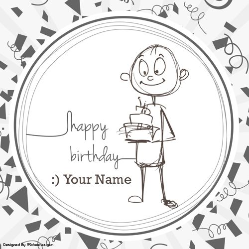 Write Name On Funny Cute Boy Birthday Greeting Card.Print