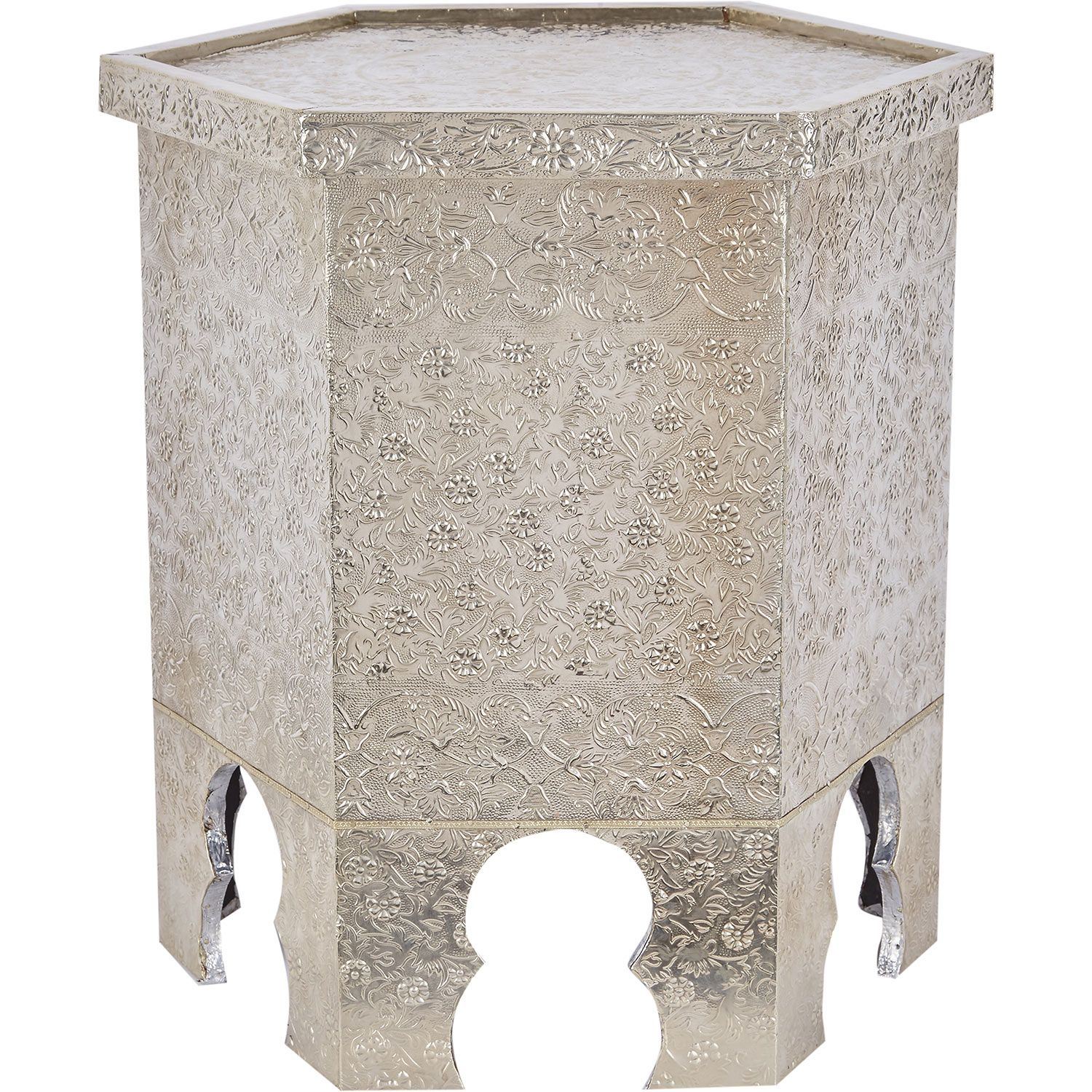 Matte Silver Tone Embossed Side Table