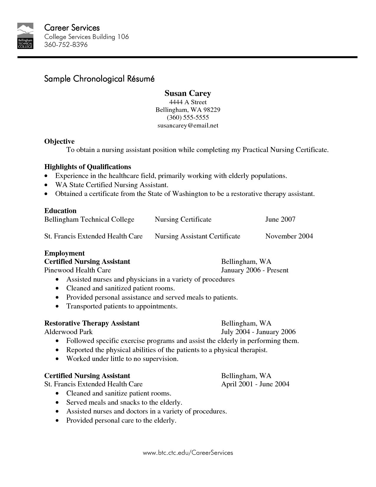 Sample Resume For Nursing Assistant Cna Resume Sampleml Experience Template Design  Resume Templates .