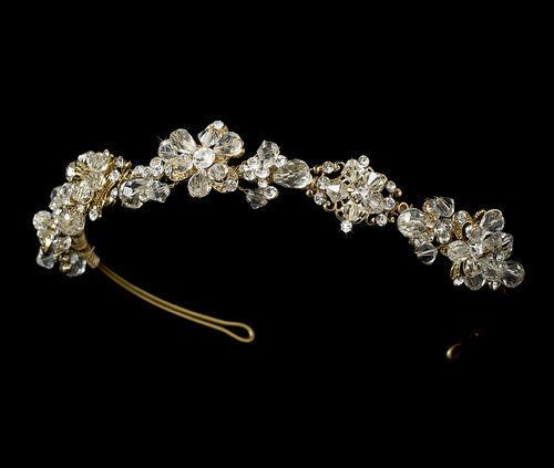 Crystal Modern Vintage Gold Plated Bridal Wedding Tiara