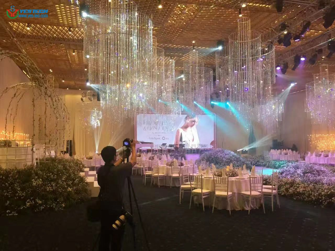 Magic stage led screen used as wedding stage decoration.   Stage decorations,  Wedding stage decorations, Christmas screen savers