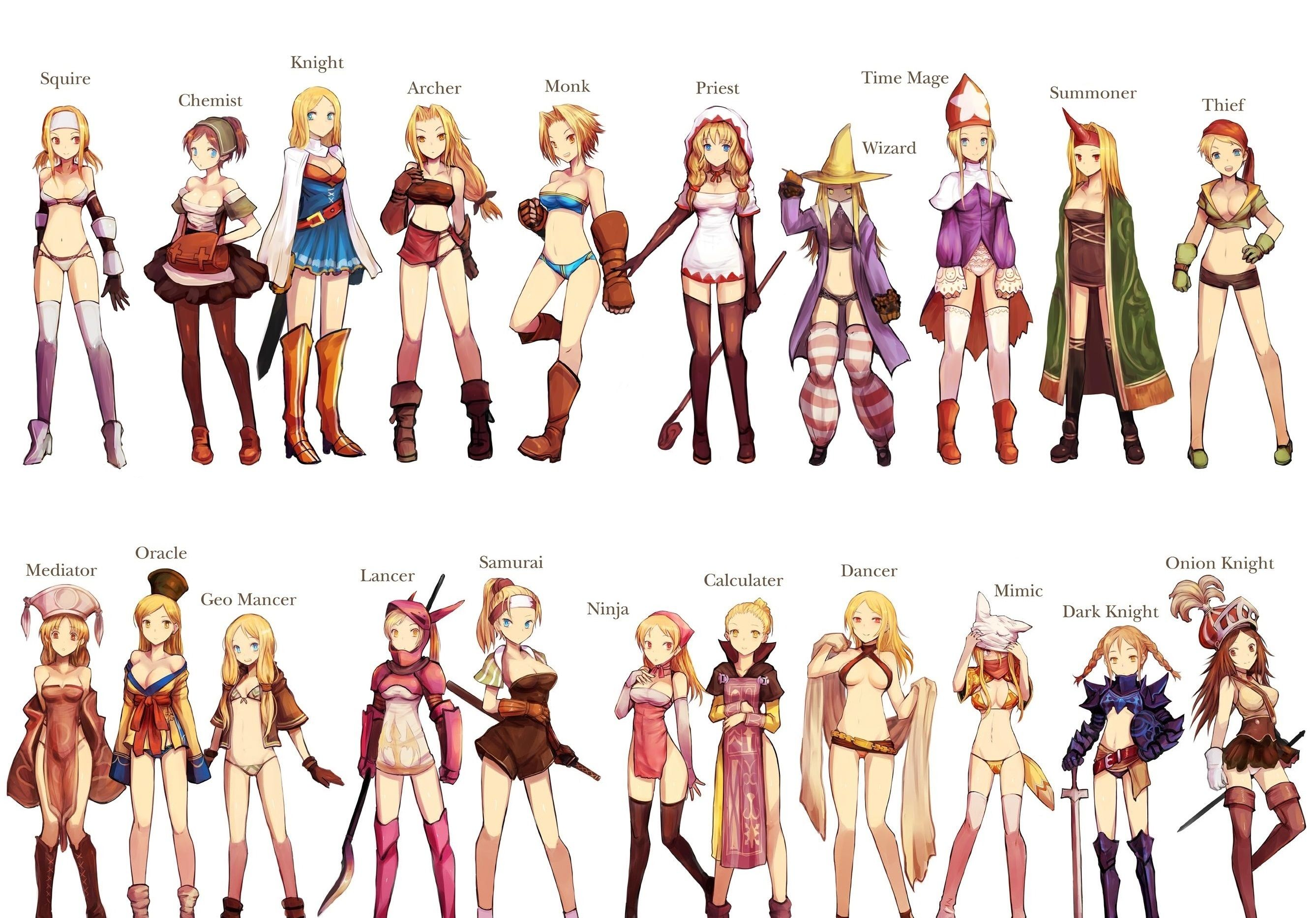 Anime Character Design Jobs : Final fantasy tactics jobs player character designs